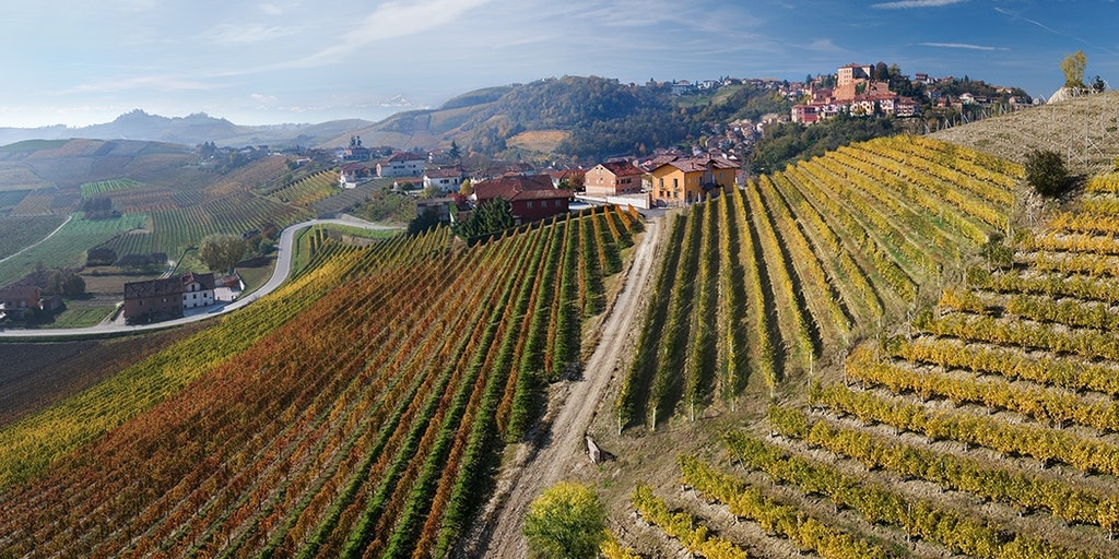 The town of Castellinaldo is beautifully situated in the vineyards