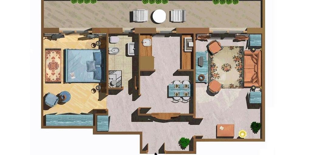 Illustration d'un appartement deux-pièces