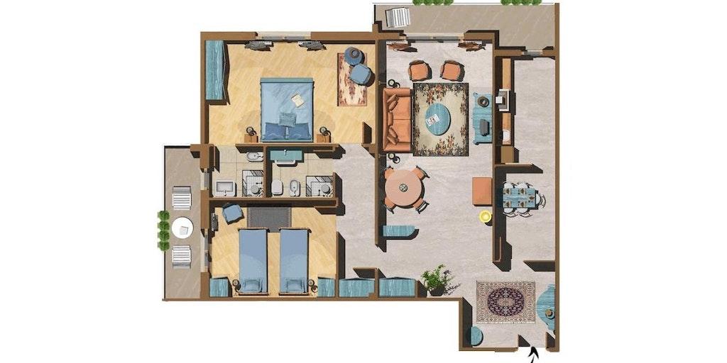 Illustration d'un appartement trois-pièces