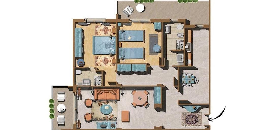 Illustration d'un appartement trois-pièces Superior
