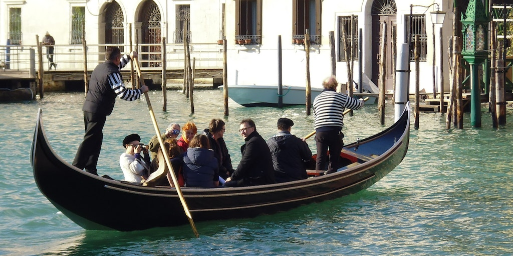 Crossing the Grand Canal in a Gondola