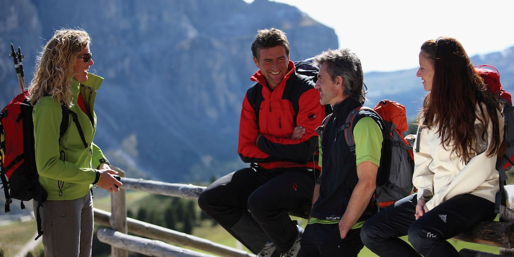A well-earned rest at Passo Gardena