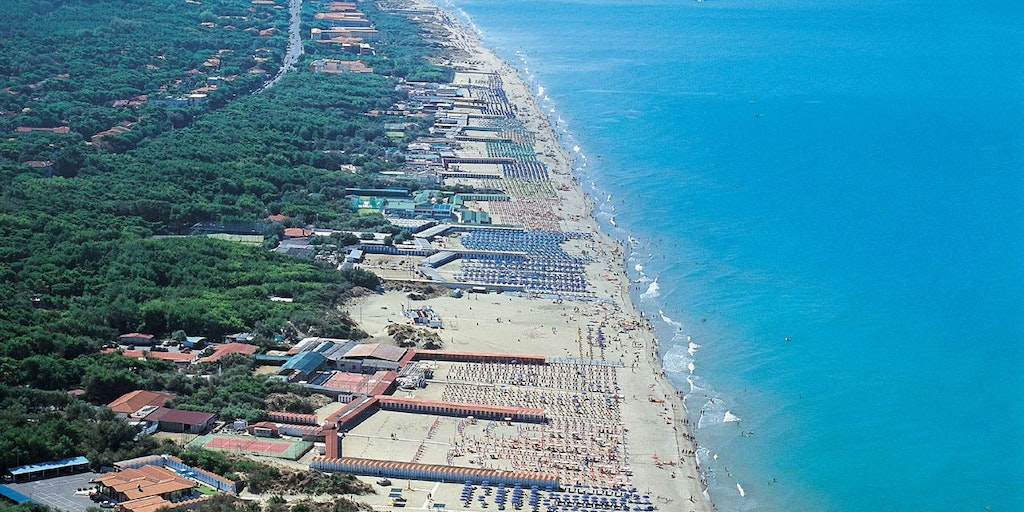 The beach at Tirrenia in Tuscany as seen from the air