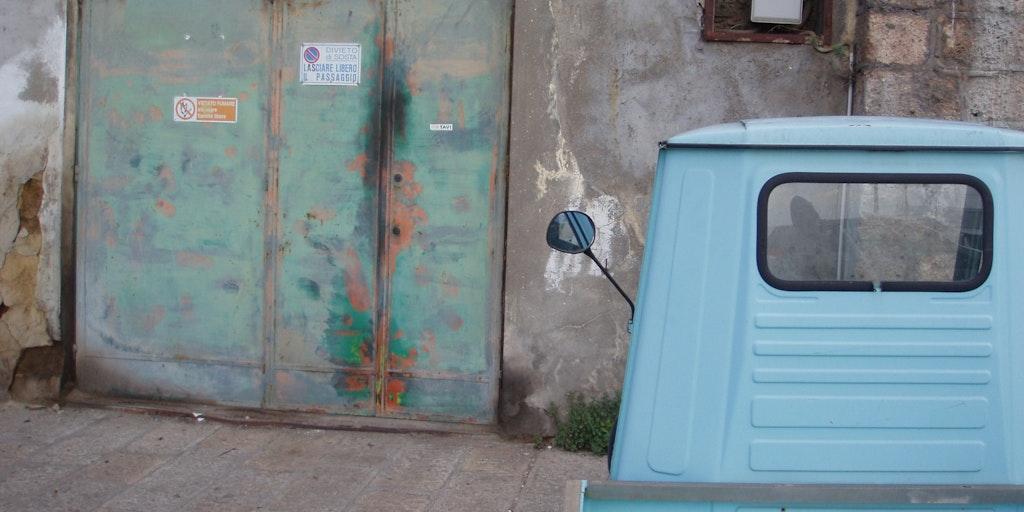 Turkish pick-up called a 'Ape' (bi) in Italian. It stood in Porto Santo Stefano in Tuscany