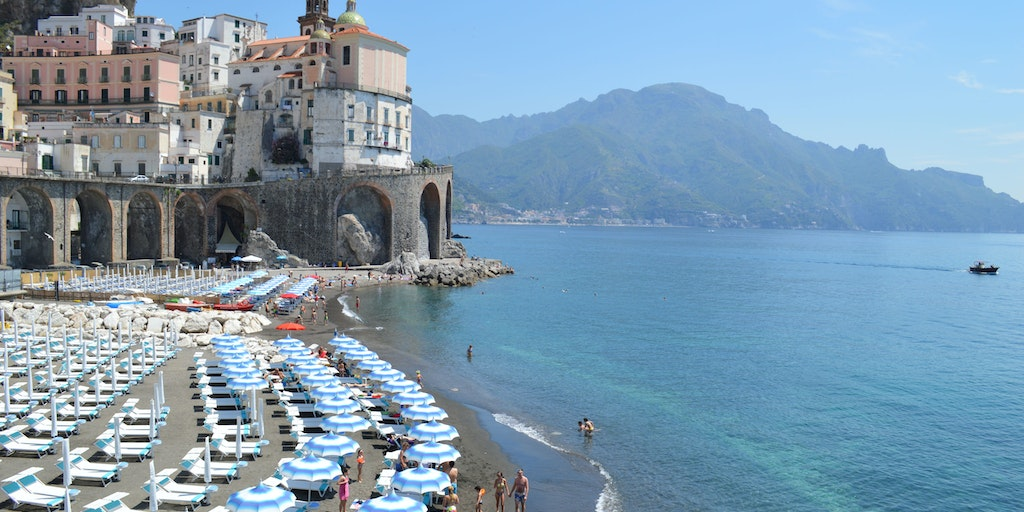 The beautiful beach at Atrani
