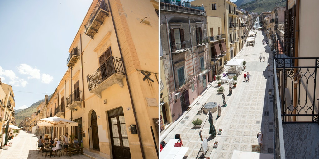 Appartamenti Pescatore ligger langs gågaden i Castellammare del Golfo centrum