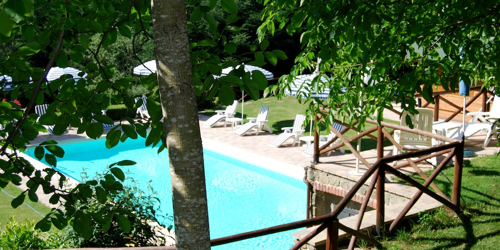 Enjoy the shade and the sun by the pool, which is 800 meters away from the center