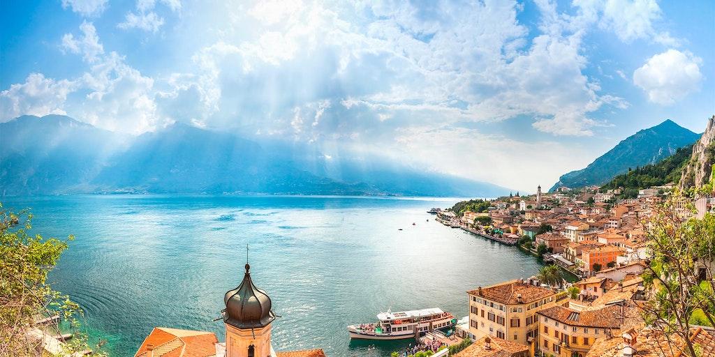 Den Gardasee von Limone sul Garda ausgesehen