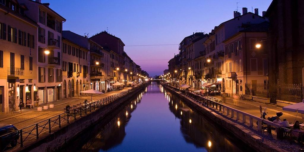 Kanal Navigli am Abend