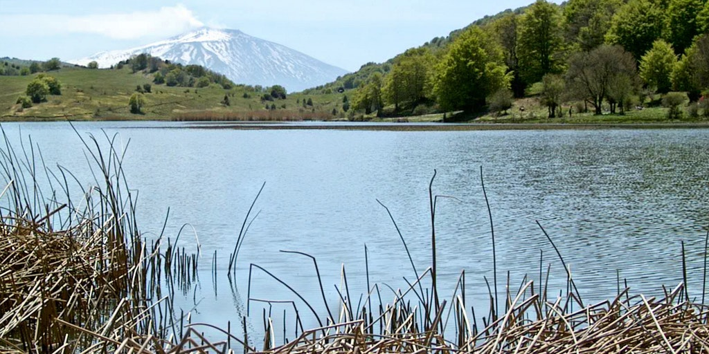 Vulkanen Etna fra Biviere-søen