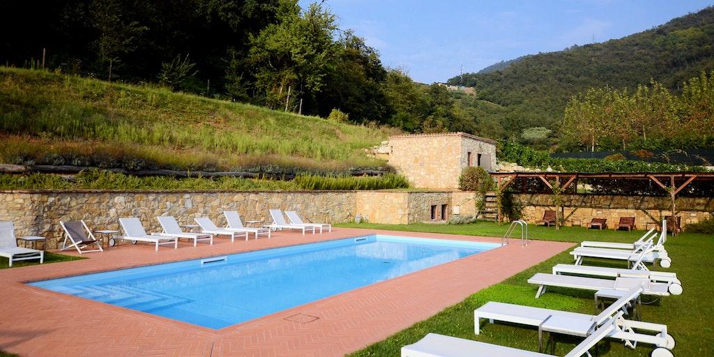 Der Pool in einer schönen und grünen Umgebung