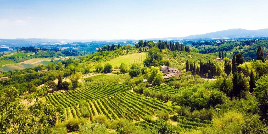 Wenn Sie sich für die Toskana entscheiden, gönnen Sie sich diesen Ausblick auf die Landschaft