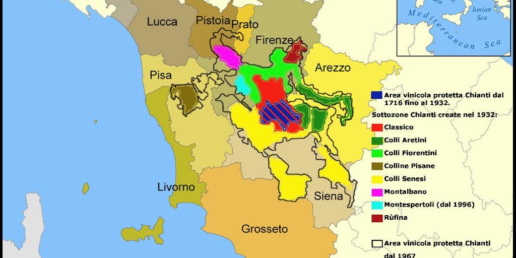 La carte du Chianti (source Wikipedia)