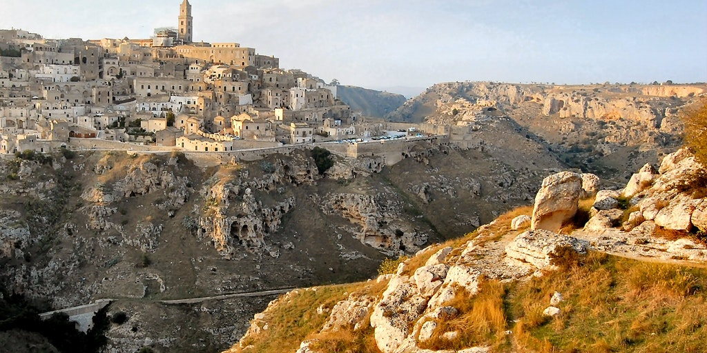 Sassi of Matera is located in a ravine