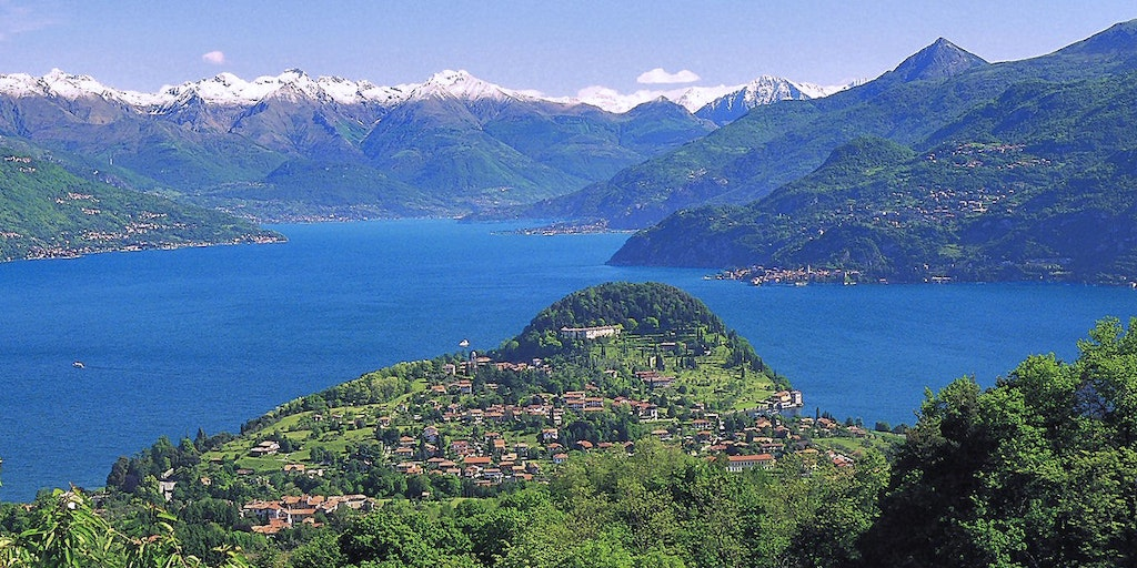 Lake Como's central hub with Bellagio at the tip