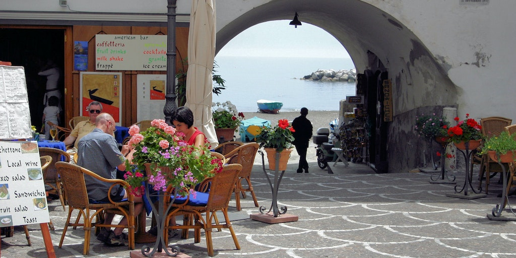Enjoy a drink on the small square in the town