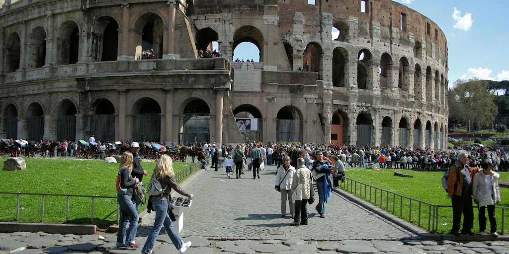 The Collosseum in the centre of Rome