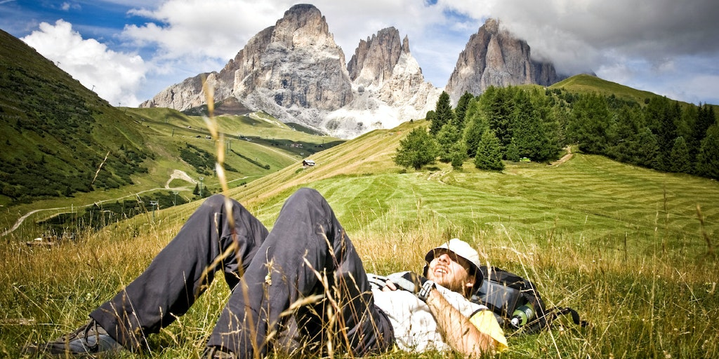 A much needed rest in the middle of the Dolomites open spaces