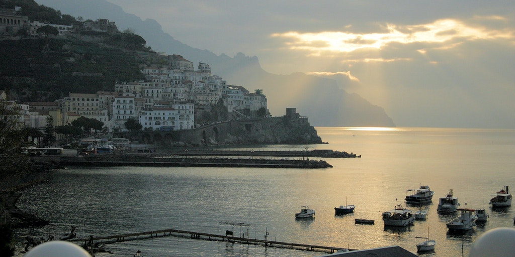Beautiful view of the coastline and Amalfi