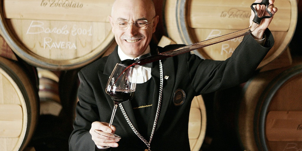 The famous Barolo wine is aerated