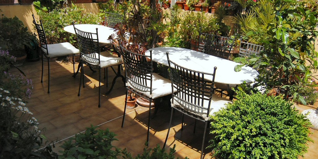 Den sköna terrassen är ett botaniskt eldorado