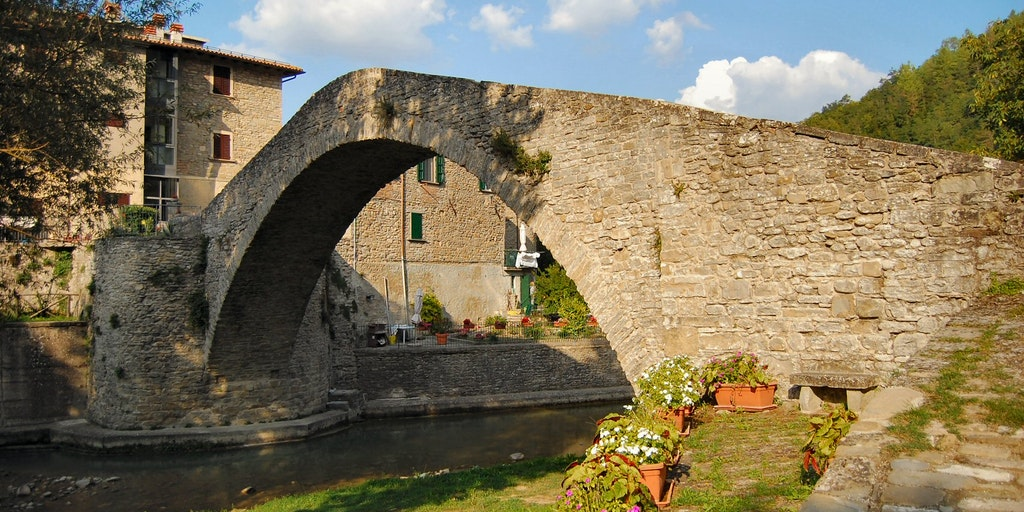 Medieval bridge Ponte della Maesta from the 1200's