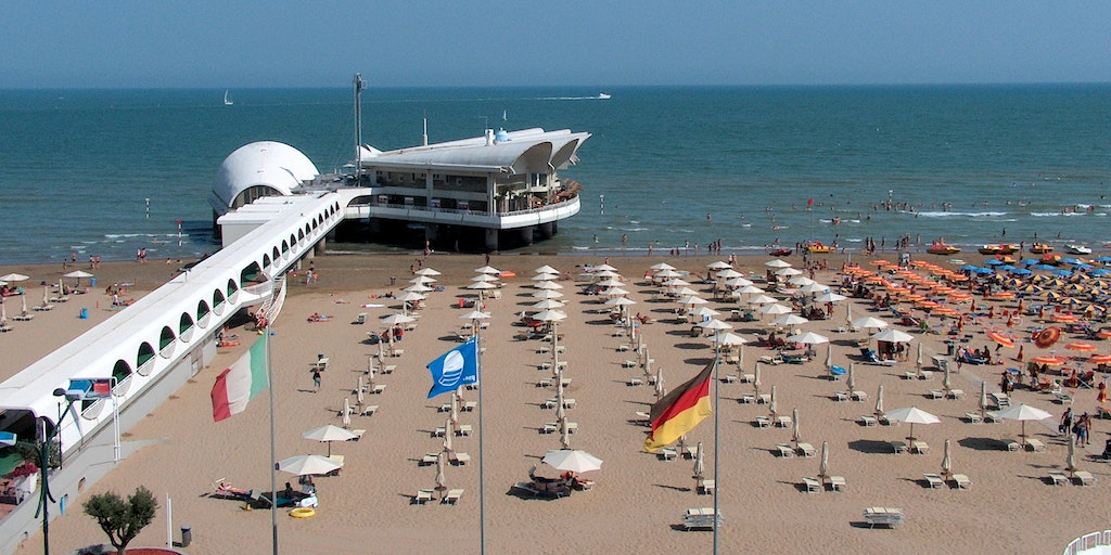 Golden sandy beach in Lignano