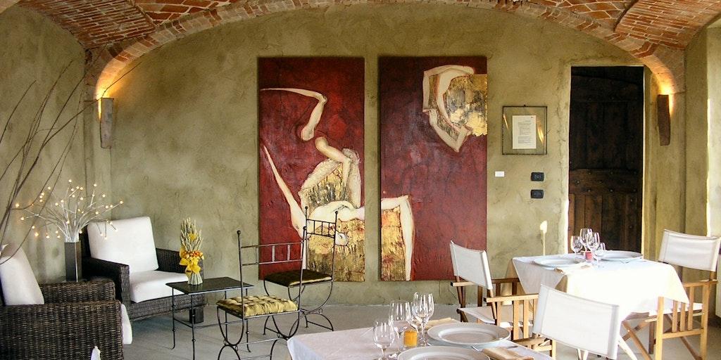 The tastefully decorated restaurant