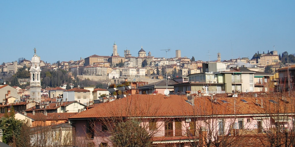 View of the old city of Bergamo from the roof of the Hotel San Giorgio