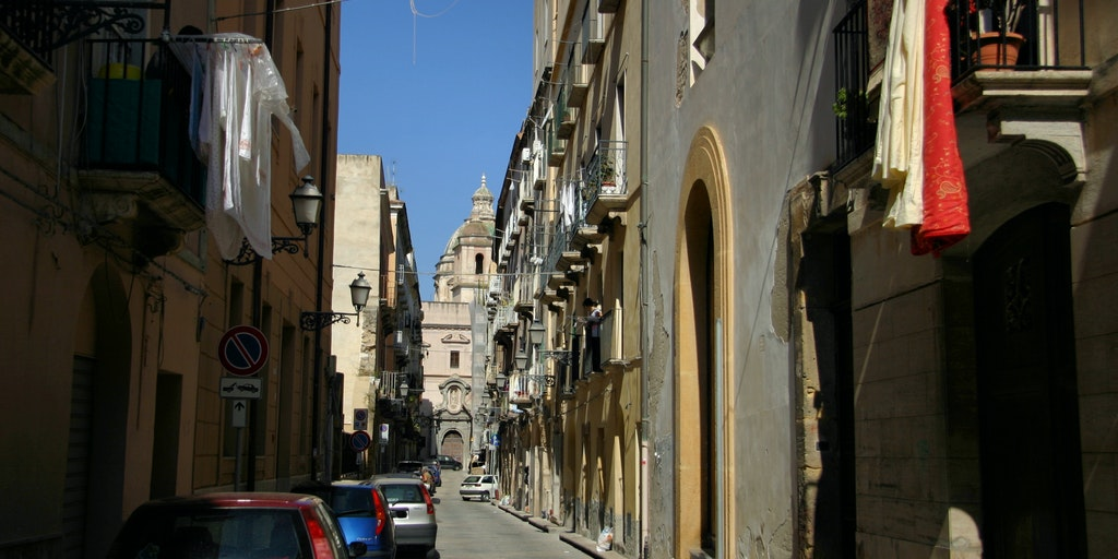 The narrow streets in city centre
