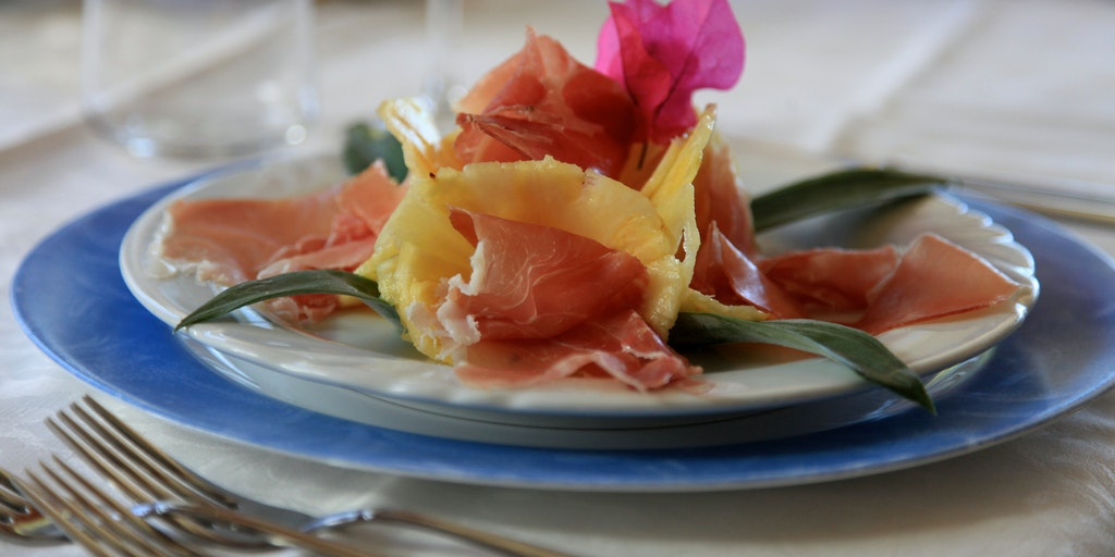 Parma ham and pineapple