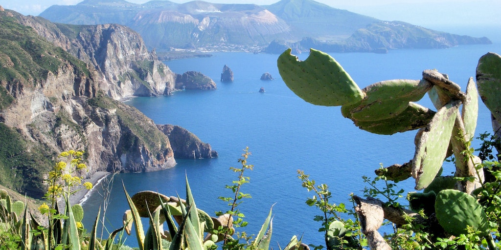 View of Lipari and Vulcano Island channel
