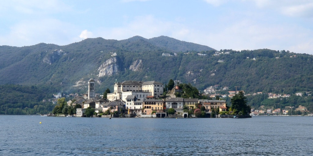 The island of Isola San Giulio as seen from the town of Orta San Giulio