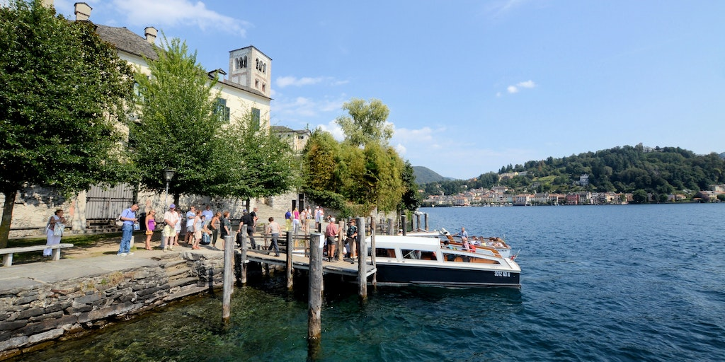 Boat tour offers opportunities to visit both Isola San Giulio and towns along the lakeshore
