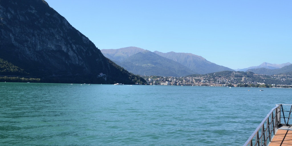 On the other side of the lake is Lugano city (Switzerland)