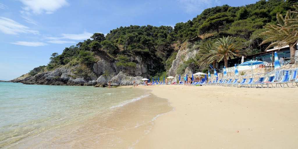 Sandy bay of Cala delle Arene on Tremiti Islands