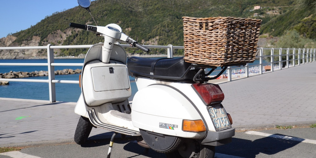 A Vespa on the promenade