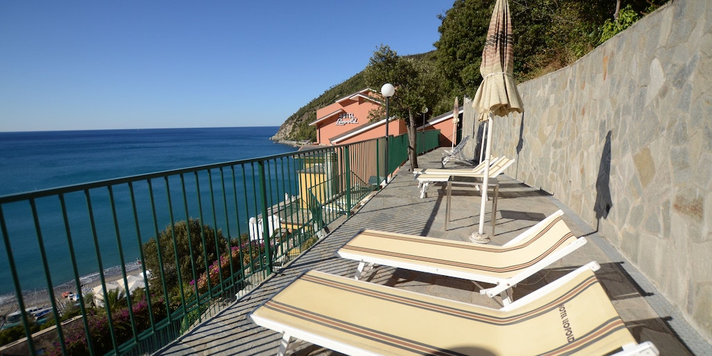One of the panoramic sun terraces above the pool