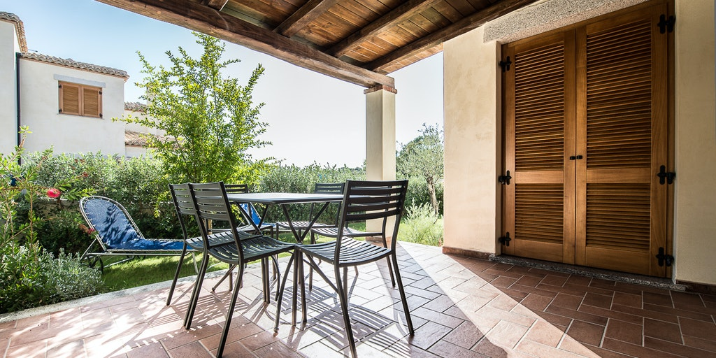 <p>Terrace to one of the superior apartments in the Villa</p>