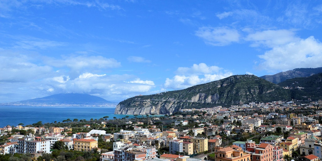 View of Sorrento with Mount Vesuvius in the background
