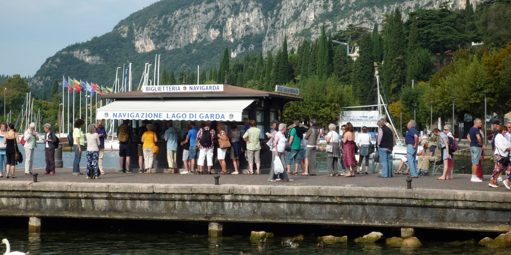 There are queues for ticket sales for the lake ferry